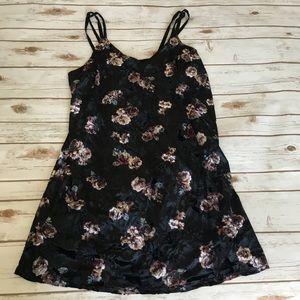 Velvet Floral Double Strap Dress